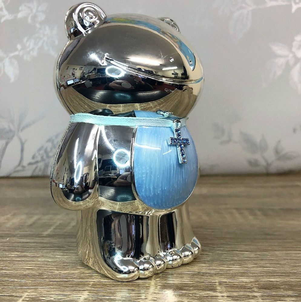 Silver Plated Blue Frog Money Box ~ Christening New Baby Gift